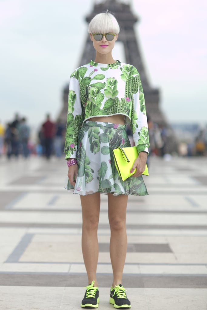 Bright greens and yellows ruled in this look.