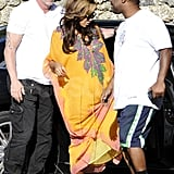 Beyoncé Knowles went for a loose dress over her growing baby bump.