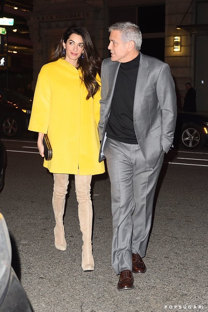 Amal and George Clooney are calling NYC home for the time being. Weeks after attending the March For Our Lives, the duo was spotted going on several dinner dates. Each time, Amal dressed to impress and showed off her stylish wardrobe — particularly her coats. After rocking this leopard trench and a twill Alexander Wang piece, she brought out her brightest outerwear yet. It was a yellow coat from Lanvin's Pre-Fall '18 collection. Amal lit up the night in the sunny hue, and it was definitely fitting for Spring. Before you get too distracted by the lemon hue, however, you'll notice her insane pair of stiletto thigh-high boots. They wrapped her svelte legs perfectly and looked both chic and sexy. Scroll through to see Amal's outfit in full, then shop similar boots for your own dinner dates.      Related:                                                                                                           Boring Coats Are Not in Amal Clooney's Vocabulary or Wardrobe — Here's Proof