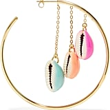 Aurélie Bidermann Gold Plated Shell and Enamel Hoop Earrings