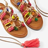Express Charm Pom Lace-Up Sandals