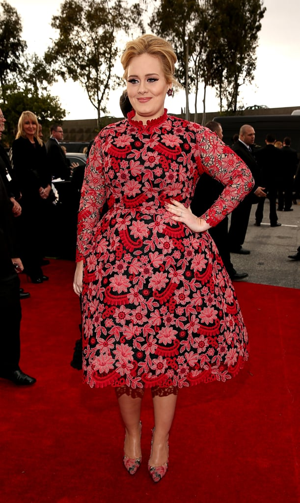 """Adele brightened up the red carpet when she arrived at the 2013 Grammy Awards in LA tonight. She wore a pink patterned Valentino dress — which was quite the departure from her usual signature black frock. Even though she made a huge sweep at the Grammys last year, Adele is only up for one award tonight for best pop solo performance for her live performance of """"Set Fire to the Rain."""" She'll reportedly perform during the show tonight, but it's being kept under wraps. Don't forget to weigh in on Adele's look and many more Grammys styles in our red carpet fashion and beauty polls."""
