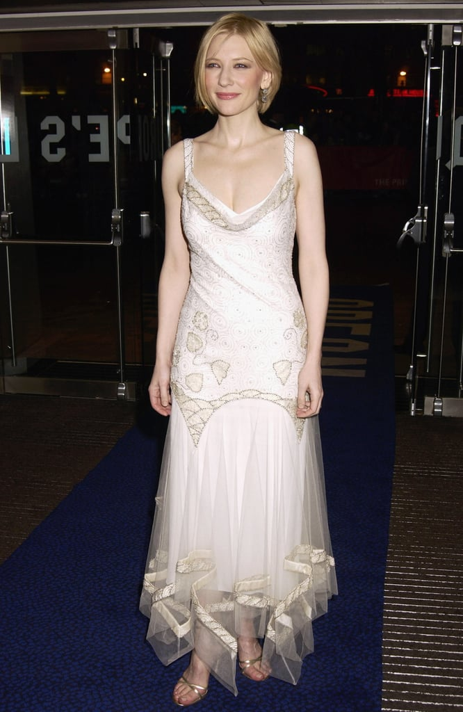 Cate Blanchett in a White Tulle Gown at the 2002 Royal Premiere of Charlotte Gray