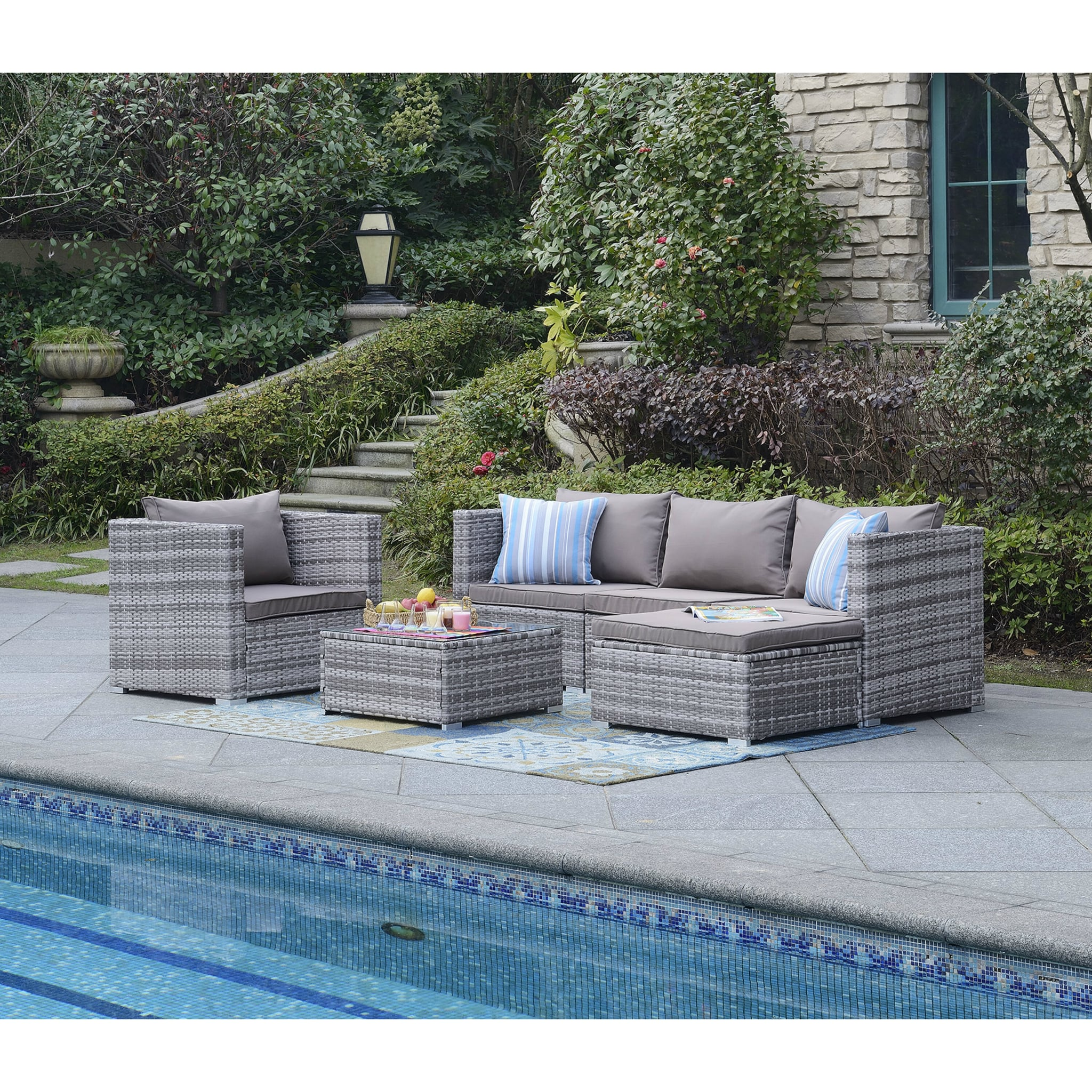 Augusta 6 Piece Rattan Sectional Seating Group With Cushions Wayfair S Biggest Sale Of The Year Is Here And These Are The 70 Hottest Deals To Score Popsugar Home Photo 28