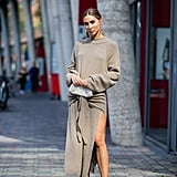 Opt for the brand's square-toed heels with a cosy sweater dress.
