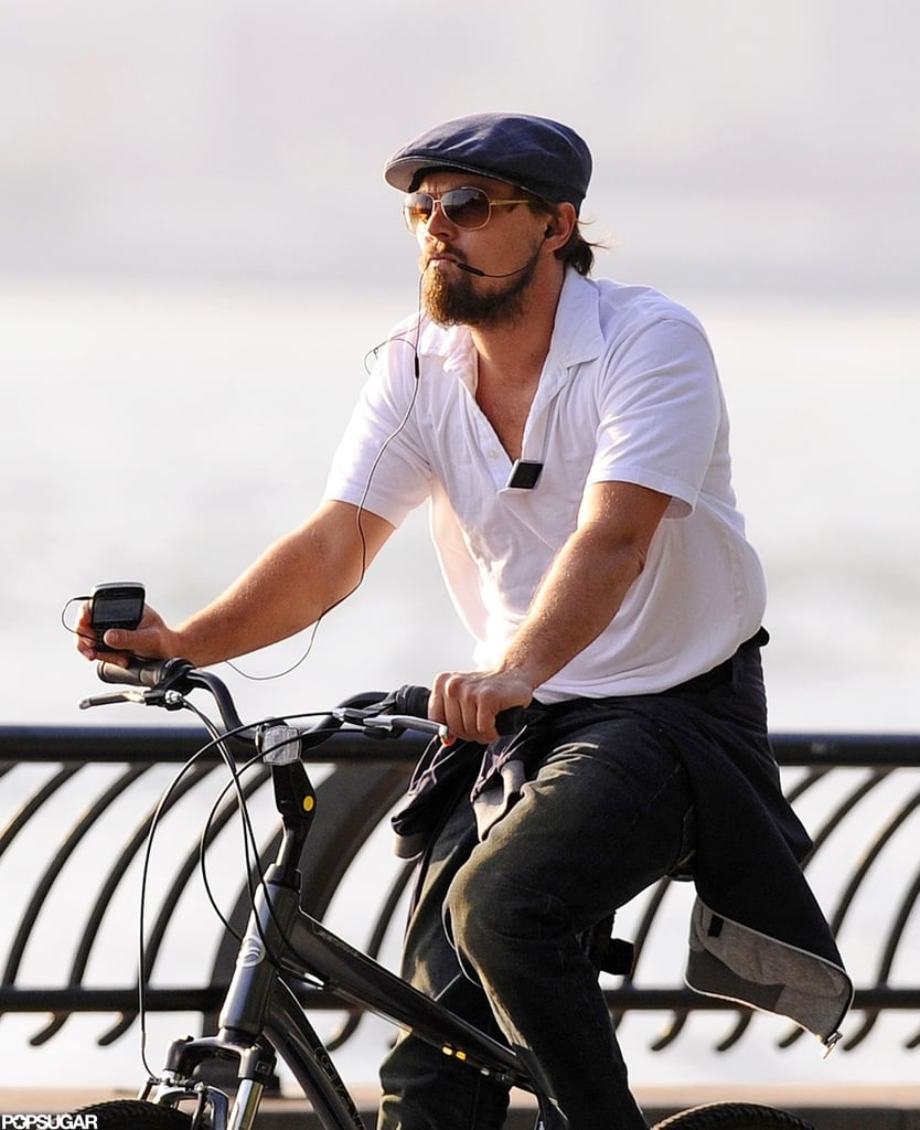 Leonardo DiCaprio rode his bike.