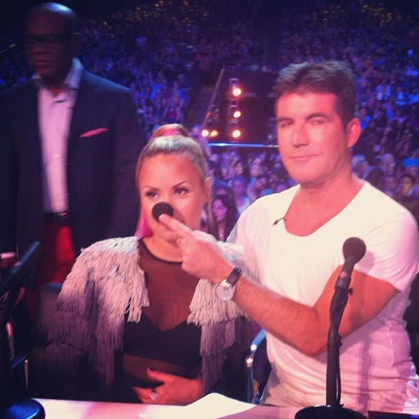Simon Cowell and Demi Lovato clowned around on the set of The X Factor. Source: Instagram user thexfactorusa