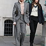 Victoria Beckham Gray Suit With Brooklyn Beckham Girlfriend