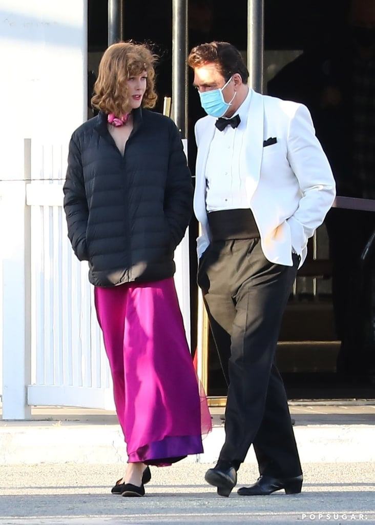 """Filming for Being the Ricardos is currently underway, and we've already gotten a few glimpses of Nicole Kidman and Javier Bardem as Lucille Ball and Desi Arnaz. On Tuesday, the stars were spotted on the set of Aaron Sorkin's upcoming film. Kidman certainly channeled the I Love Lucy actress with a bright red wig and pencil-thin eyebrows, while Bardem looked sharp in a black and white tux.  The upcoming biopic will tell the story of Lucille Ball and her husband, Desi Arnaz as they filmed their hit 1951 sitcom I Love Lucy. Though Kidman's casting was initially met with skepticism from fans, Ball and Arnaz's daughter, Lucie Arnaz, eventually gave the casting her seal of approval. """"Nobody has to impersonate Lucy Ricardo nor do the Vitameatavegamin routine, or . . . any of the silly things. It's the story of Lucille Ball, my actual mother, not Lucy Ricardo, and her husband, Desi Arnaz, my dad, not Ricky Ricardo,"""" she noted. """"Aaron has done a wonderful job of bringing these characters to life, and it's just a little . . . slice of life in their journey,"""" she continued. """"So I hope I can set the record straight here, and just say, stop arguing about who should play her."""" See more pictures of Kidman and Javier Bardem on set ahead.      Related:                                                                                                           20 Timeless Photos of Lucille Ball That Prove She'll Always Be an Icon"""
