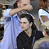 Penelope Cruz had her hair done for a movie.