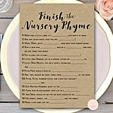 Finish the Nursery Rhyme Baby Shower Game