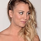 From the side, you can see Kaley's pretty barrette that embellished her sideswept waves.