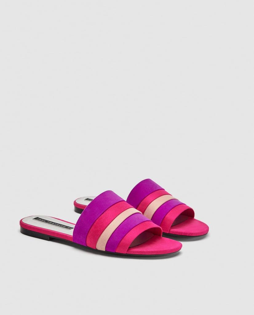 bad03fb145f5a2 Zara Colored Flat Sandals