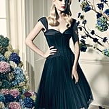 Truly Zac Posen Short Black Pleated Dress With Sweetheart Neckline