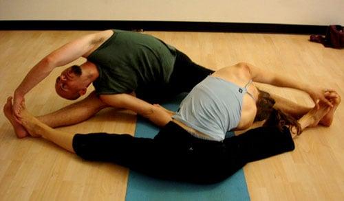 Partner Yoga Pose: Twisting Seated Straddle
