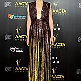 Confirmed: Cate Blanchett knows the secret to making a red carpet moment. The Oscar nominee shimmered in a sequin-encrusted gown by Givenchy, which surprised us with a pleated skirt lined in gold.
