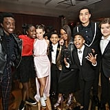 Pictured: Caleb McLaughlin, Crystal McLaughlin, Millie Bobby Brown, Lonnie Chavis, Marsai Martin, Miles Brown, Marcus Scribner, and Gaten Matarazzo