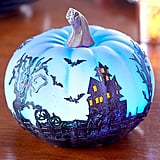 Lakeside Collection Color-Changing Halloween Pumpkin With Haunted House
