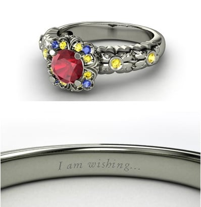 Sierra from Heck Yeah Disney Merch used Gemvara to create these Disney-princess-inspired rings — and they are spot-on, right down to the personalized engraving. You can buy Snow White's ring here!