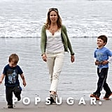 Sheryl Crow hung out on the beach with her boys.