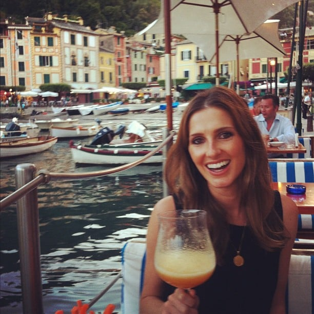 "Kate Waterhouse enjoyed the ""world's biggest peach bellini"" on her honeymoon. Source: Instagram user katewaterhouse7"