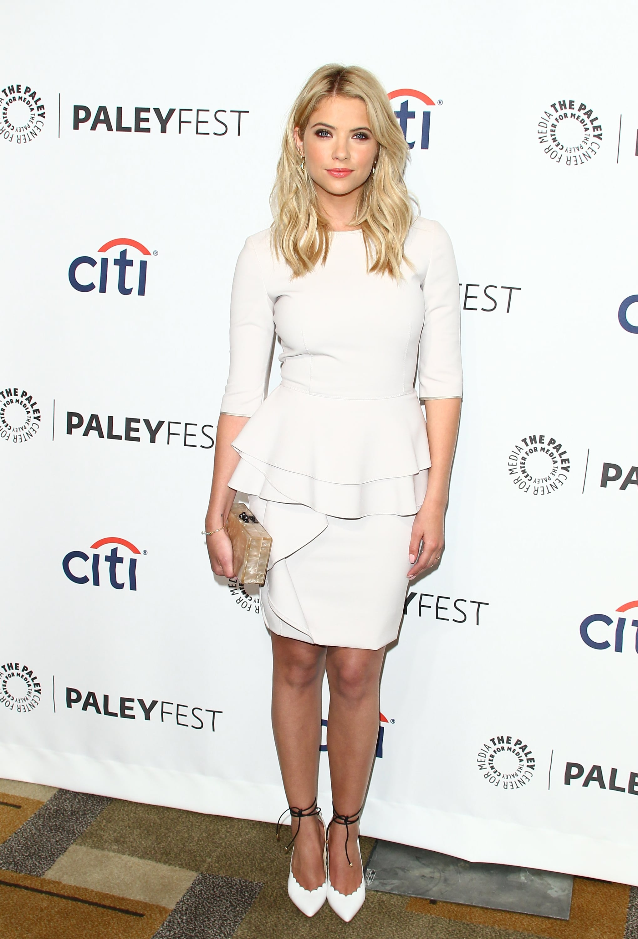 Ashley Benson wore a sophisticated top and matching skirt.