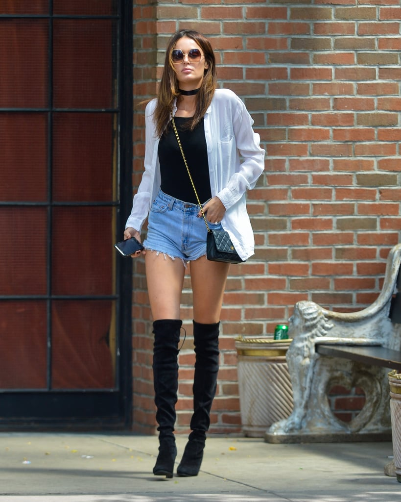 trunfio wearing denim shorts and the knee