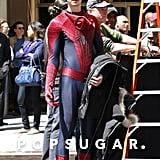 Andrew Garfield wore a green hat during a break on set.