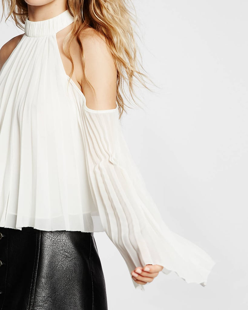 Express High Neck Pleated Cold Shoulder Blouse ($70)