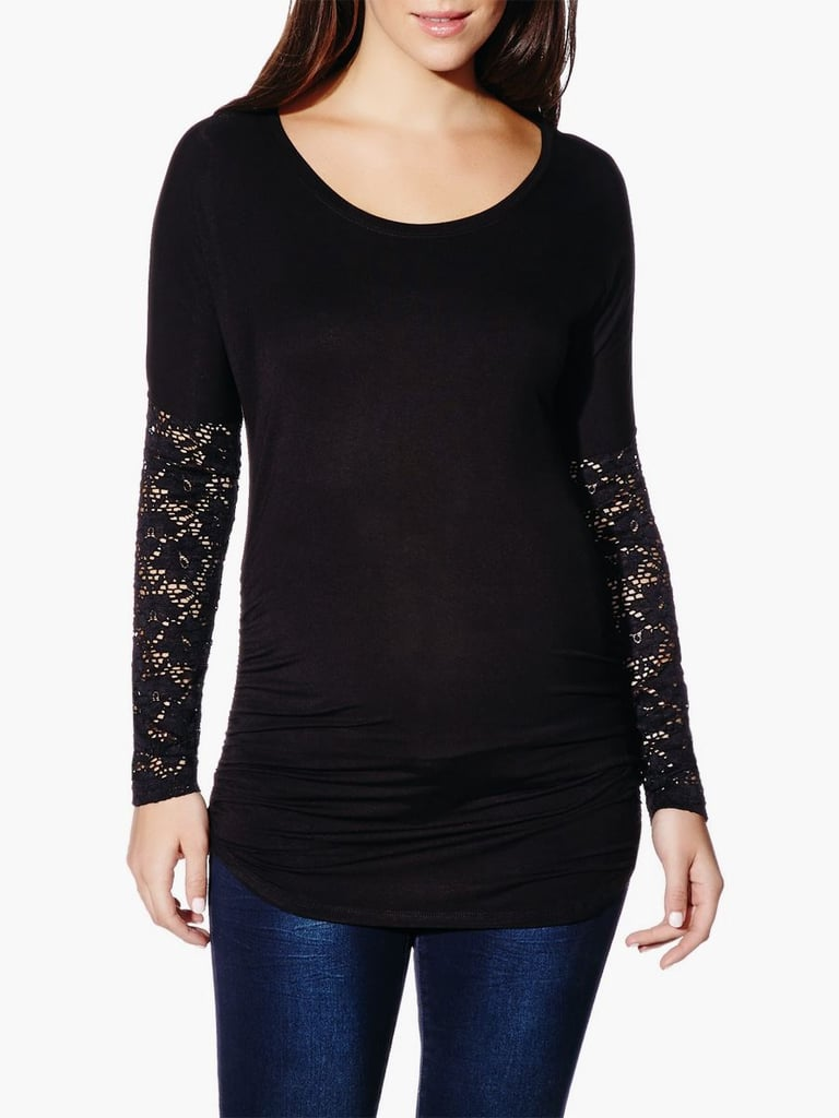 4bd6048ad3f8d Thyme Maternity Lace Sleeve Maternity Top ($42) | Cheap Maternity ...