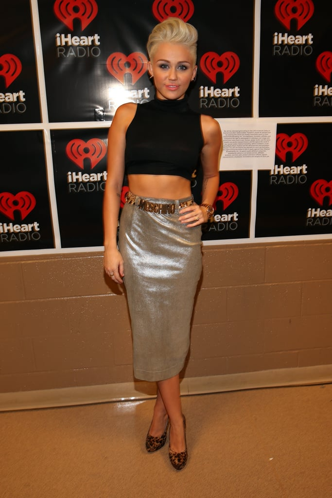 Miley showed skin at the 2012 iHeartRadio music festival in Sep. 2012.