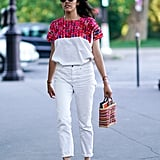 Wear a Printed Top With White Pants