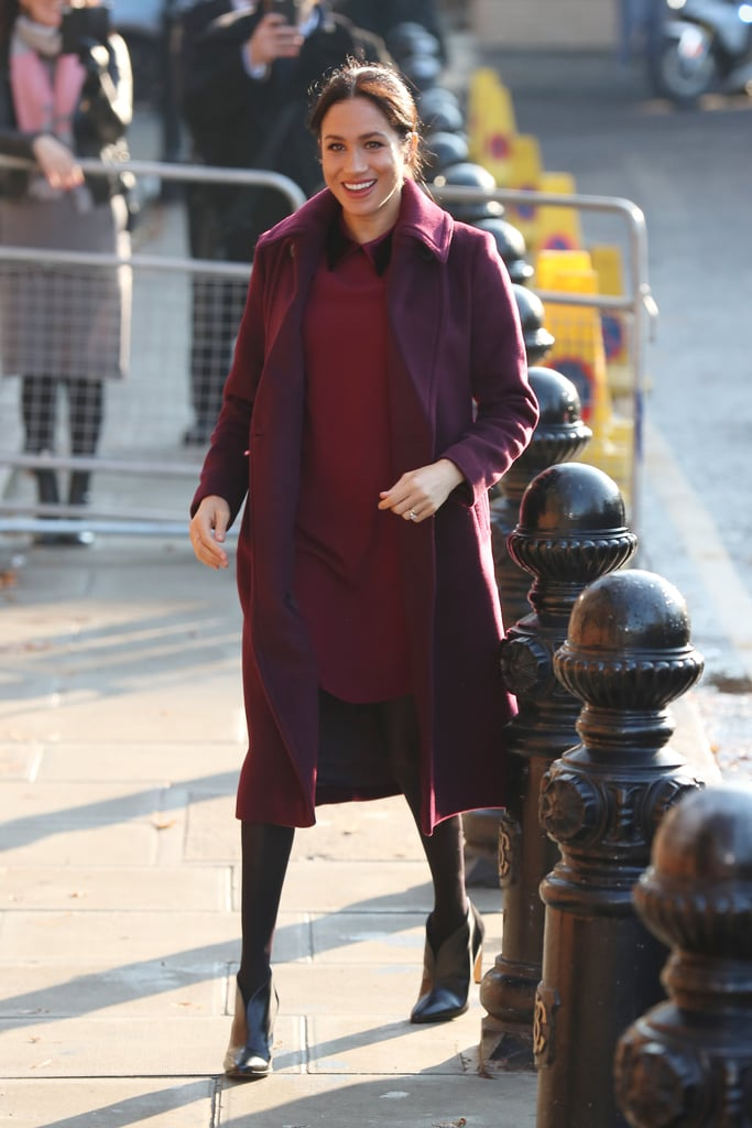 Meghan Markle S Burgundy Dress November 2018 Popsugar Fashion