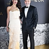 This asymmetric Oscar de la Renta dress is very '20s flapper. Amal really glows in champagne, plus the fringed fabric moves so beautifully while you walk.