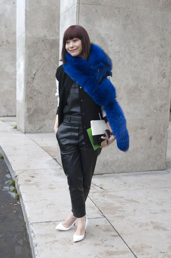 The statement-hued fur added whimsy to leather sportswear.