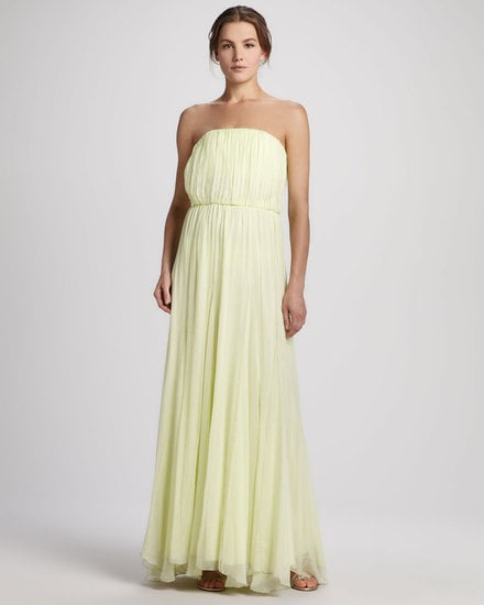 The almost ethereal-like silhouette is made even more lovely by the soft lemon hue on this Alice + Olivia Chase strapless dress ($495).