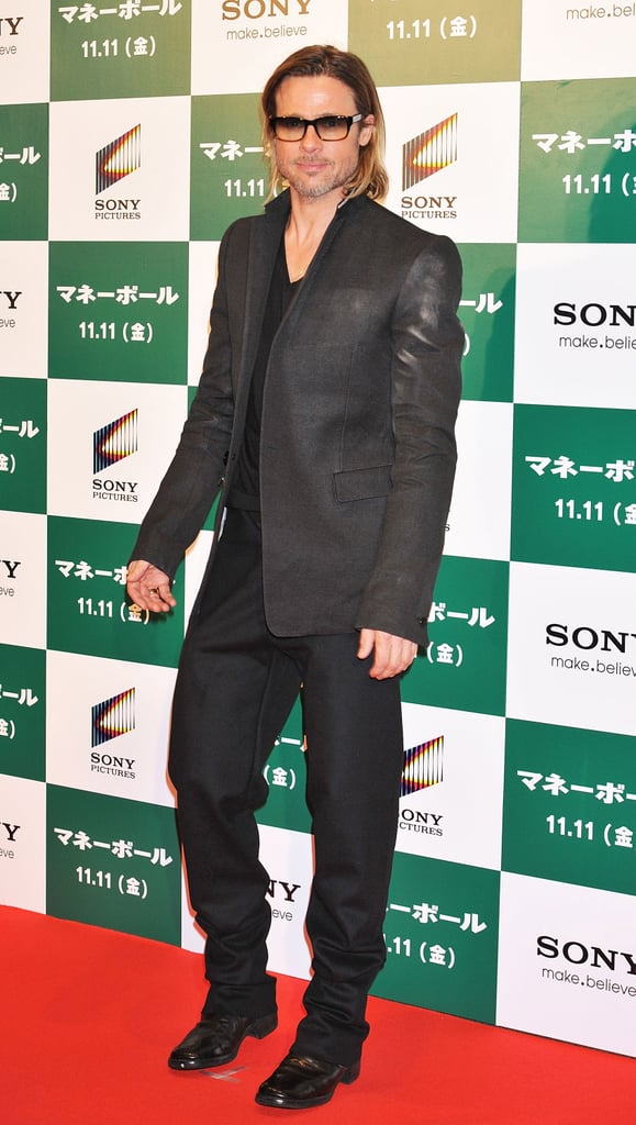 Brad Pitt hit the red carpet in a black suit.