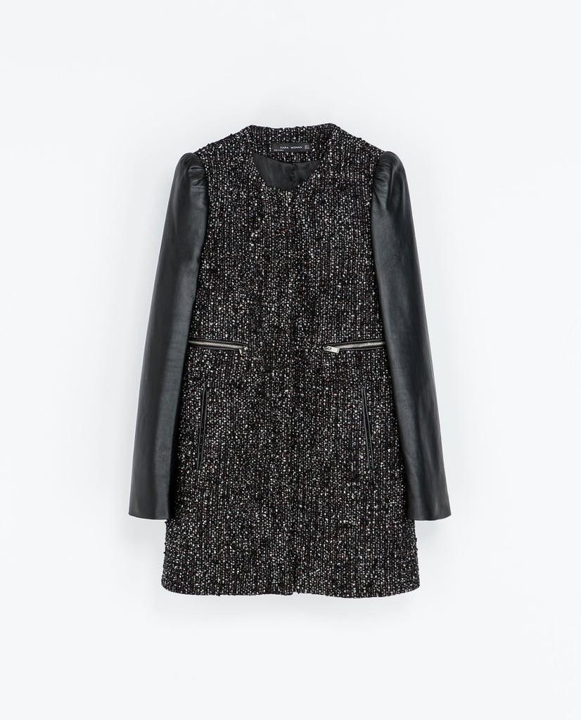 Zara Coat With Leather Sleeves ($100, originally $239)