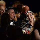 Angelina Jolie gave Brad Pitt an adoring glance during the Governors Awards in LA, where she became the youngest person to ever receive the Jean Hersholt Humanitarian Award.