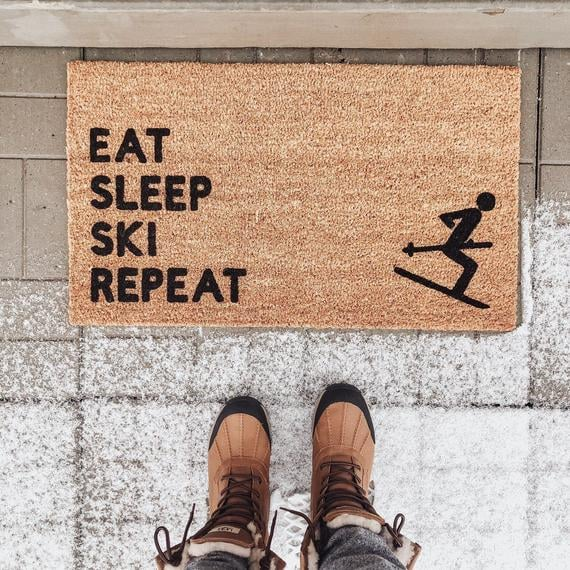 Eat Sleep Ski Repeat Doormat