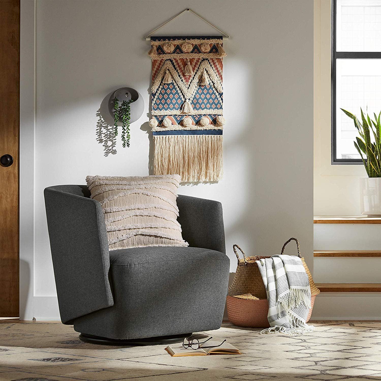 Rivet Coen Contemporary Modern Upholstered Accent Swivel ...