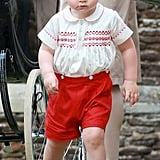 """Prince William on George's personality: """"He's a little monkey.""""  Prince Charles on how he's a handful: He told reporters that Princess Charlotte sleeps through the night and it's been much easier on Kate than it was with Prince George.  William on his son's energy: He said Prince George """"never stops moving.""""  William on George's first Christmas: """"George will be bouncing around like a rabbit."""""""