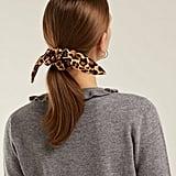 House of Lafayette Bambou Leopard-Print Bow Silk Scrunchie