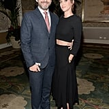 Michael Sheen arrived with Lizzy Caplan by his side.