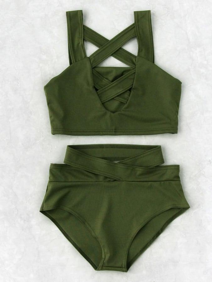 04d7fc535b Shein Criss Cross Cut Front High Waist Bikini Set | Kim and Kourtney ...