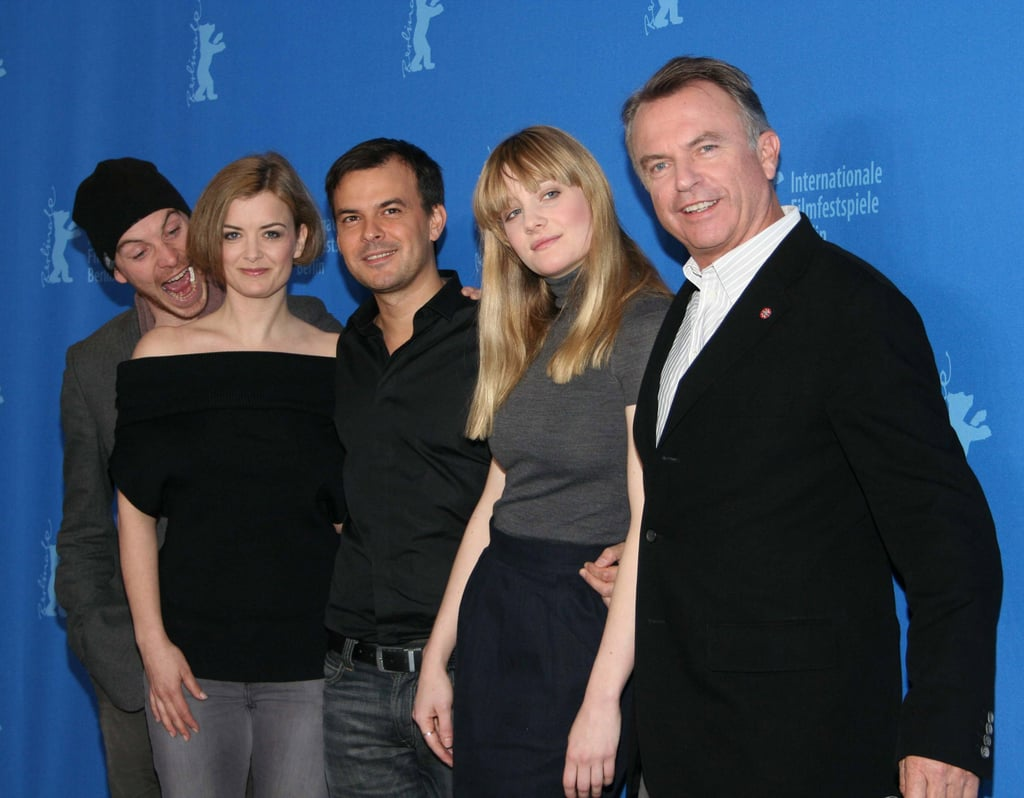 In February 2007, Michael Fassbender joked with his Angel costars Lucy Russell, Romola Garai, and Sam Neill, as well as director Francois Ozon at the Berlin Film Festival.