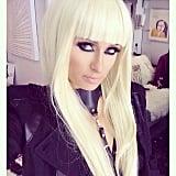 "Paris wore a ""#PlatinumBlonde"" wig.  Source: Instagram user parishilton"