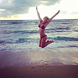 Bar Refaeli got some air on the beach. Source: Instagram user barrefaeli
