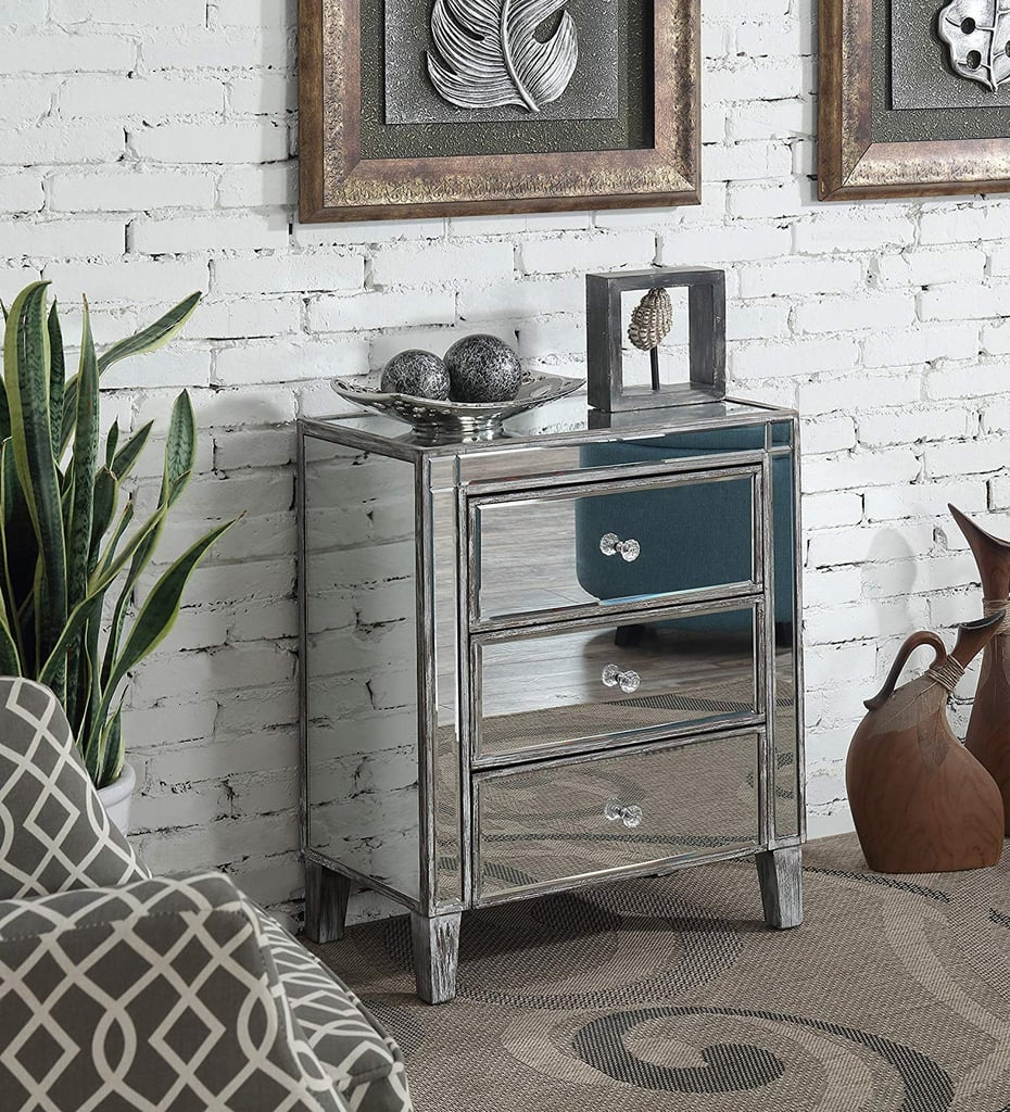 Convenience Concepts 3-Drawer Mirrored Table