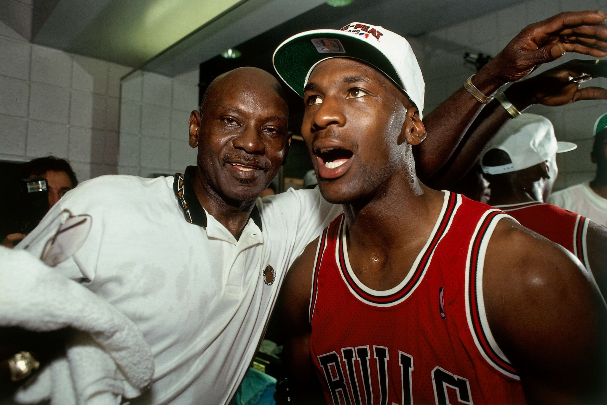PHOENIX - JUNE 20:  Michael Jordan #23 of the Chicago Bulls celebrates winning the NBA Championship with his father after Game Six of the 1993 NBA Finals on June 20, 1993 at th America West Arena in Phoenix, Arizona.  The Bulls won 99-98.  NOTE TO USER: User expressly acknowledges and agrees that, by downloading and/or using this Photograph, user is consenting to the terms and conditions of the Getty Images License Agreement. Mandatory Copyright Notice: Copyright 1993 NBAE  (Photo by Andrew D. Bernstein/NBAE via Getty Images)